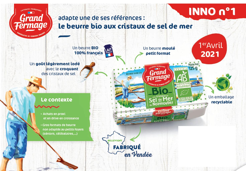 Beurre BIO Grand Fermage aux cristaux de sel de Mer de Noirmoutier